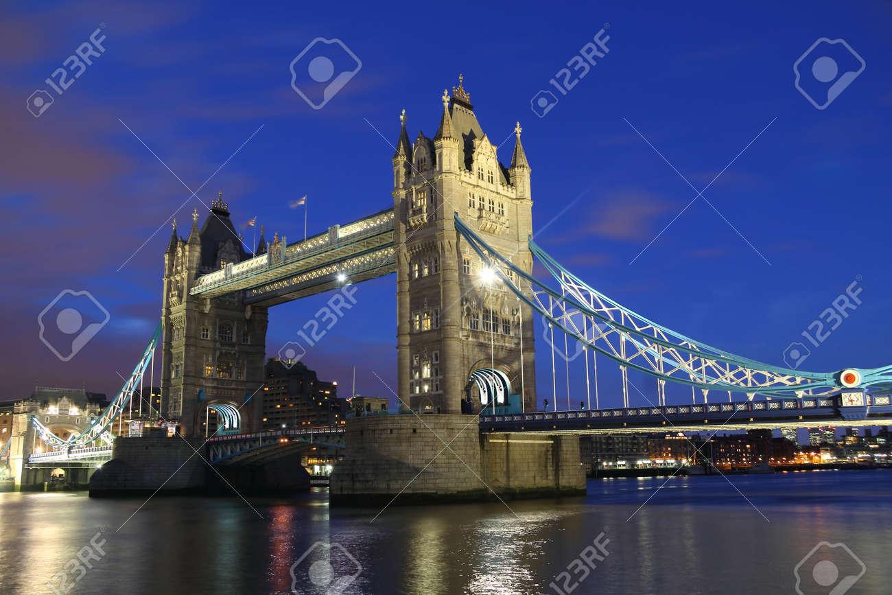 Tower Bridge in London, UK, by night - 16447834