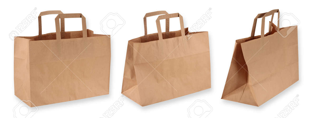 Brown paper shopping bags isolated on white background - 16447803
