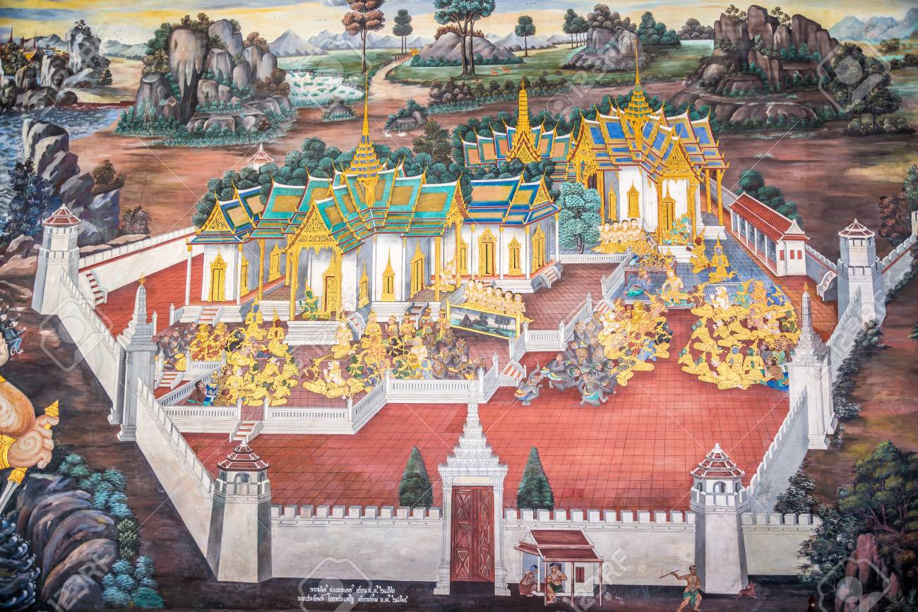 Traditional Thai painting art about Ramayana story on temple