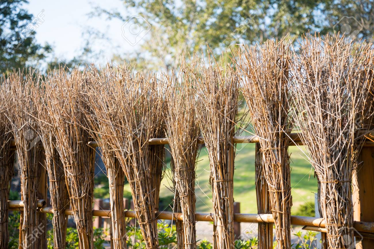 Bamboo Fence Style In Japanese Zen Garden Stock Photo, Picture And ...
