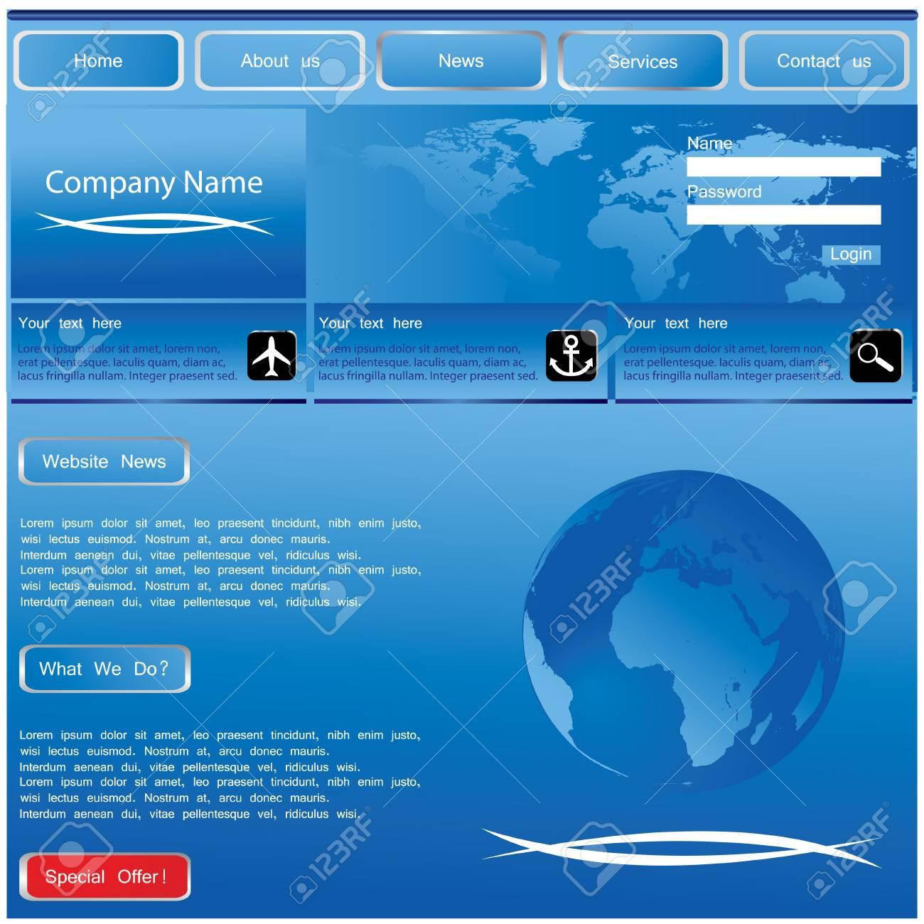blue website template Stock Vector - 8760653