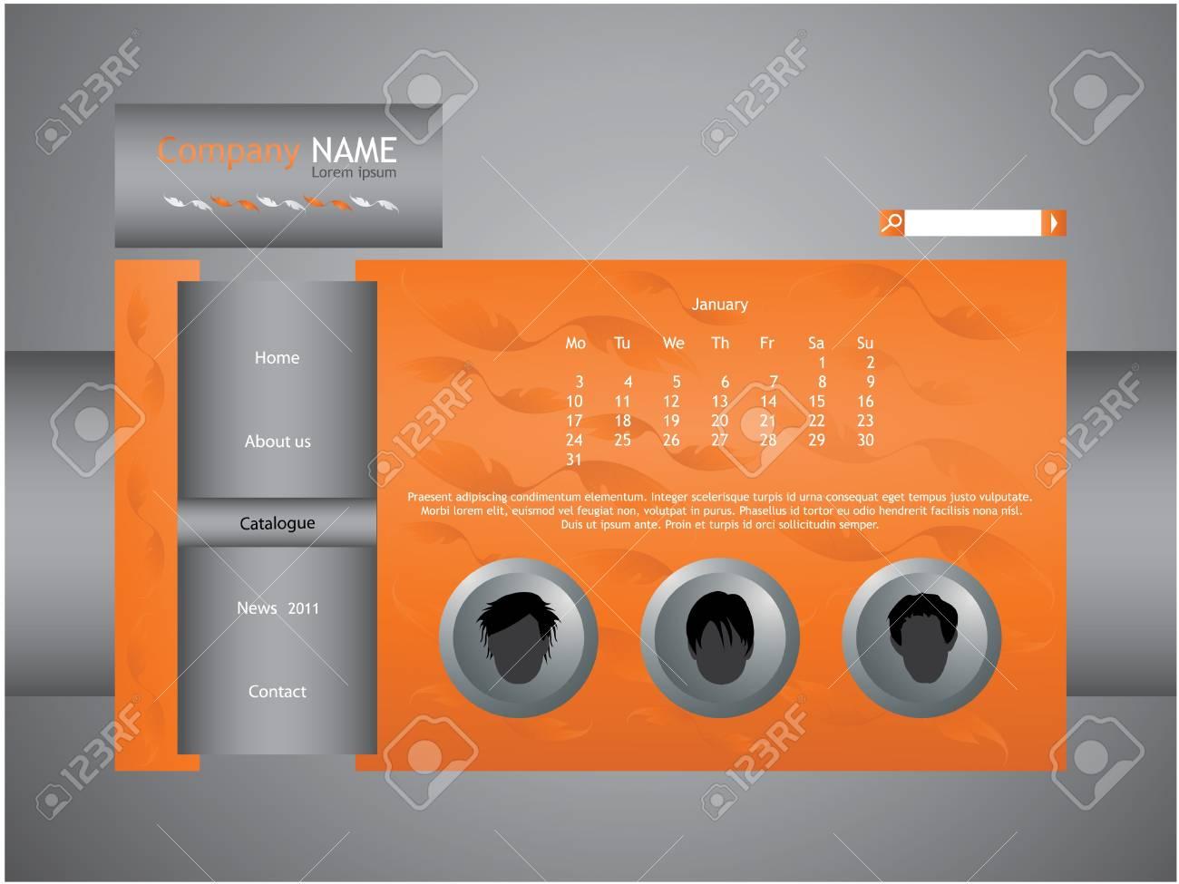 orange web site template Stock Vector - 9007005