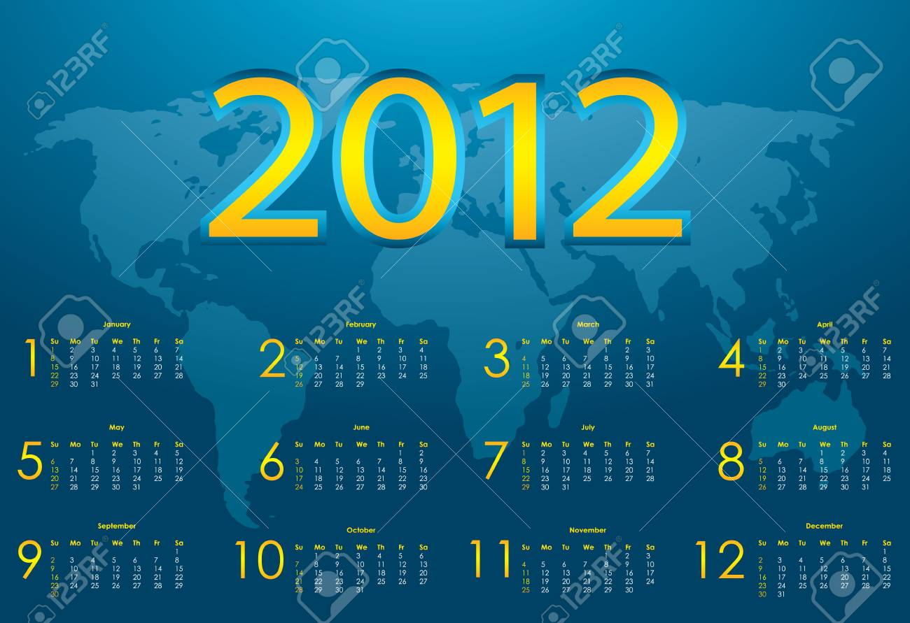 2012 calendar with blue abstract background Stock Vector - 10818579