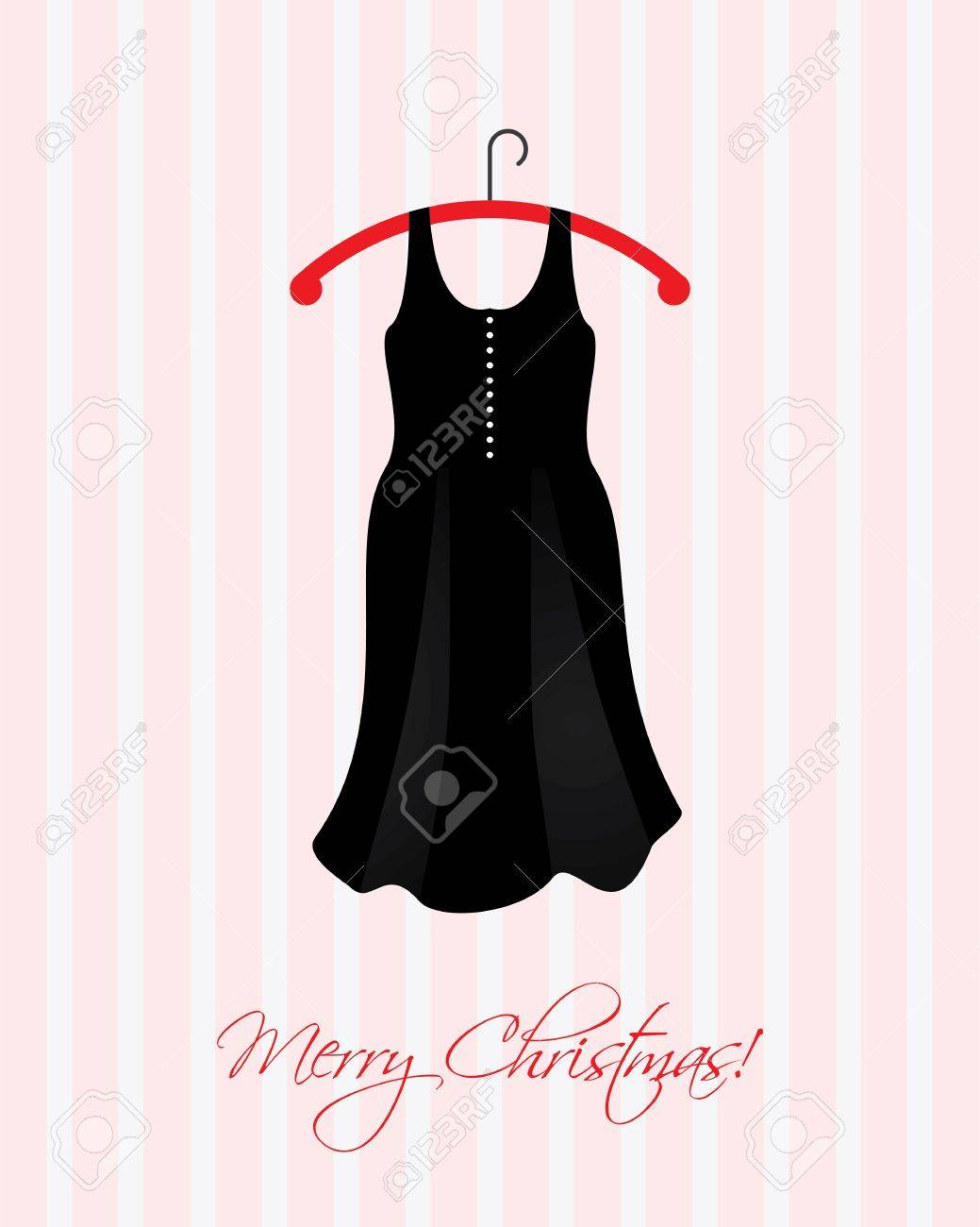 Christmas Card With A Special Black Dress Royalty Free Cliparts ...