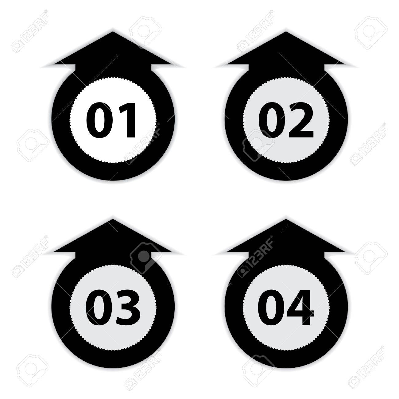 arrow labels with numbers, black and white vector illustration Stock Vector - 17773619