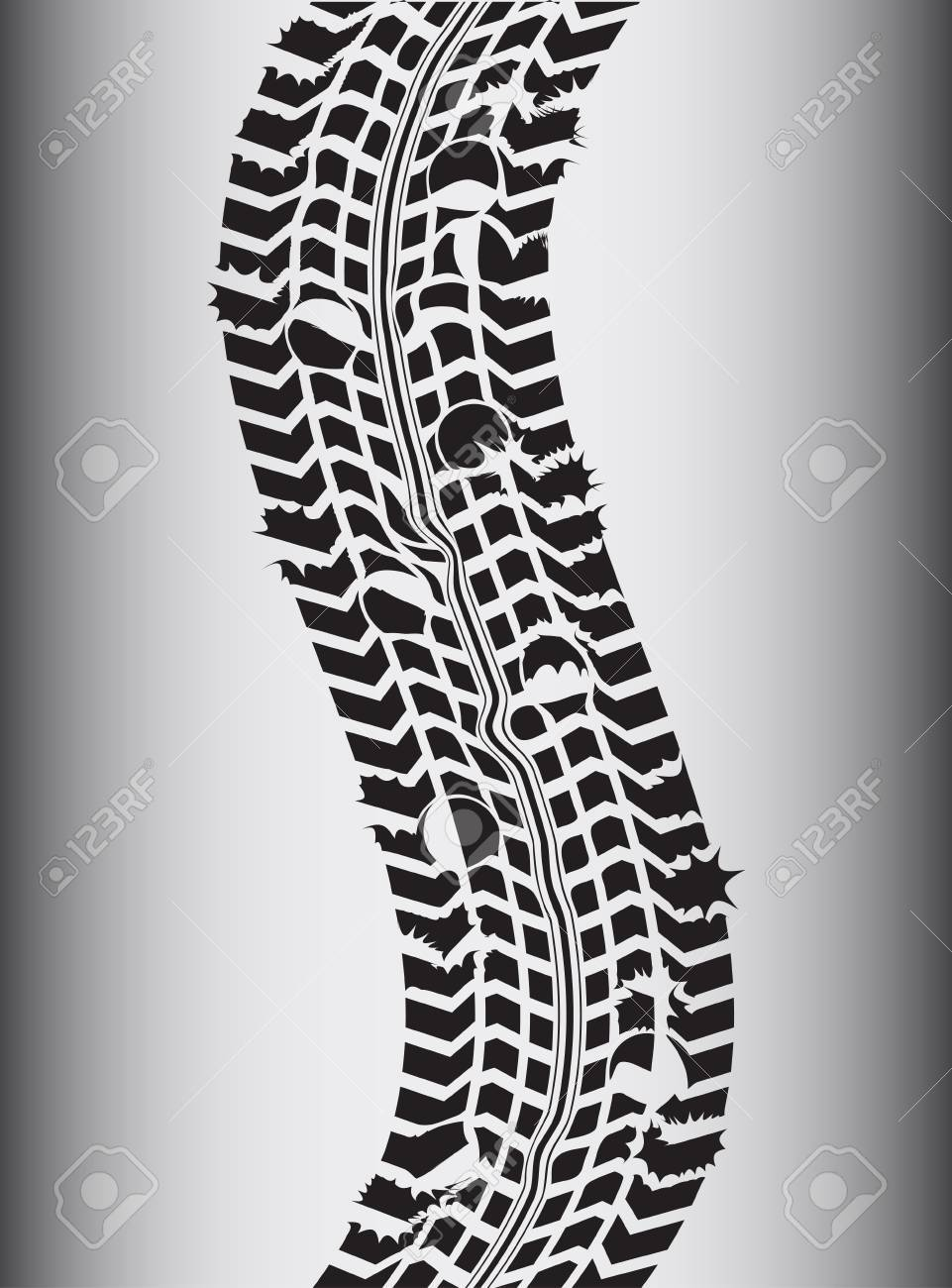 special transportation background with grunge tire track Stock Vector - 17773664