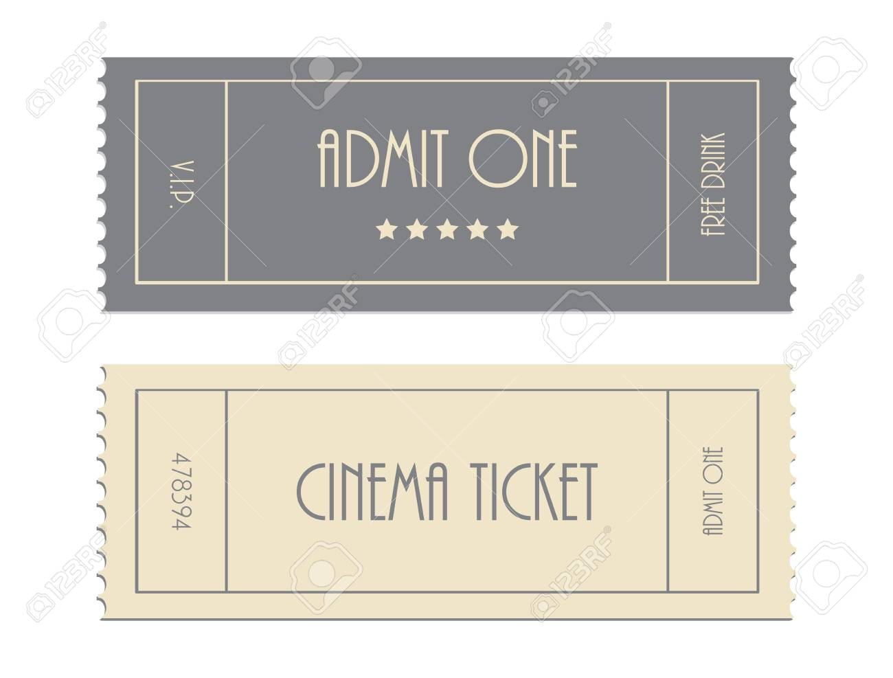 Special Vector Ticket Template Admit One Cinema Ticket Royalty - Admit one ticket template