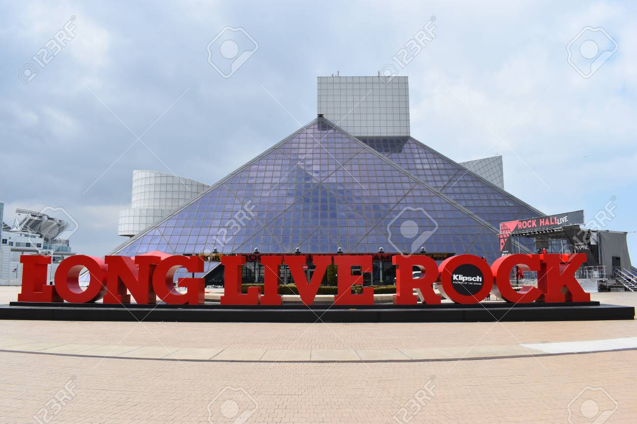 Entrance of famous Hall of Fame in Cleveland, Ohio, USA