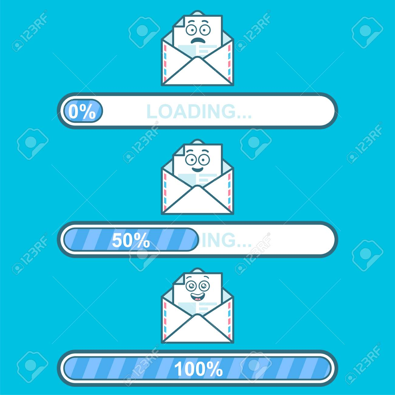 Set of vector downloaders with email cartoon character and text
