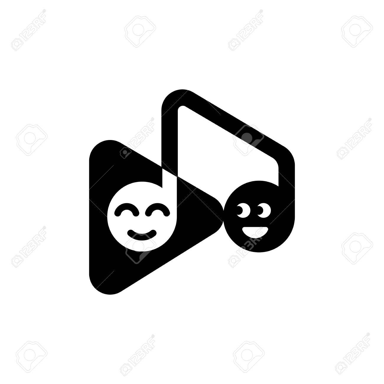 Modele De Note De Musique Et Bouton De Lecture Avec Des Emoticones Droles Clip Art Libres De Droits Vecteurs Et Illustration Image 75091147