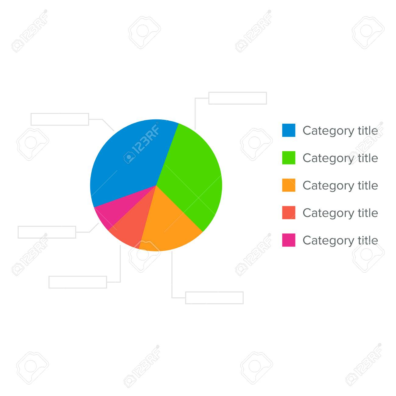 colorful business pie chart for graphic design, documents, reports