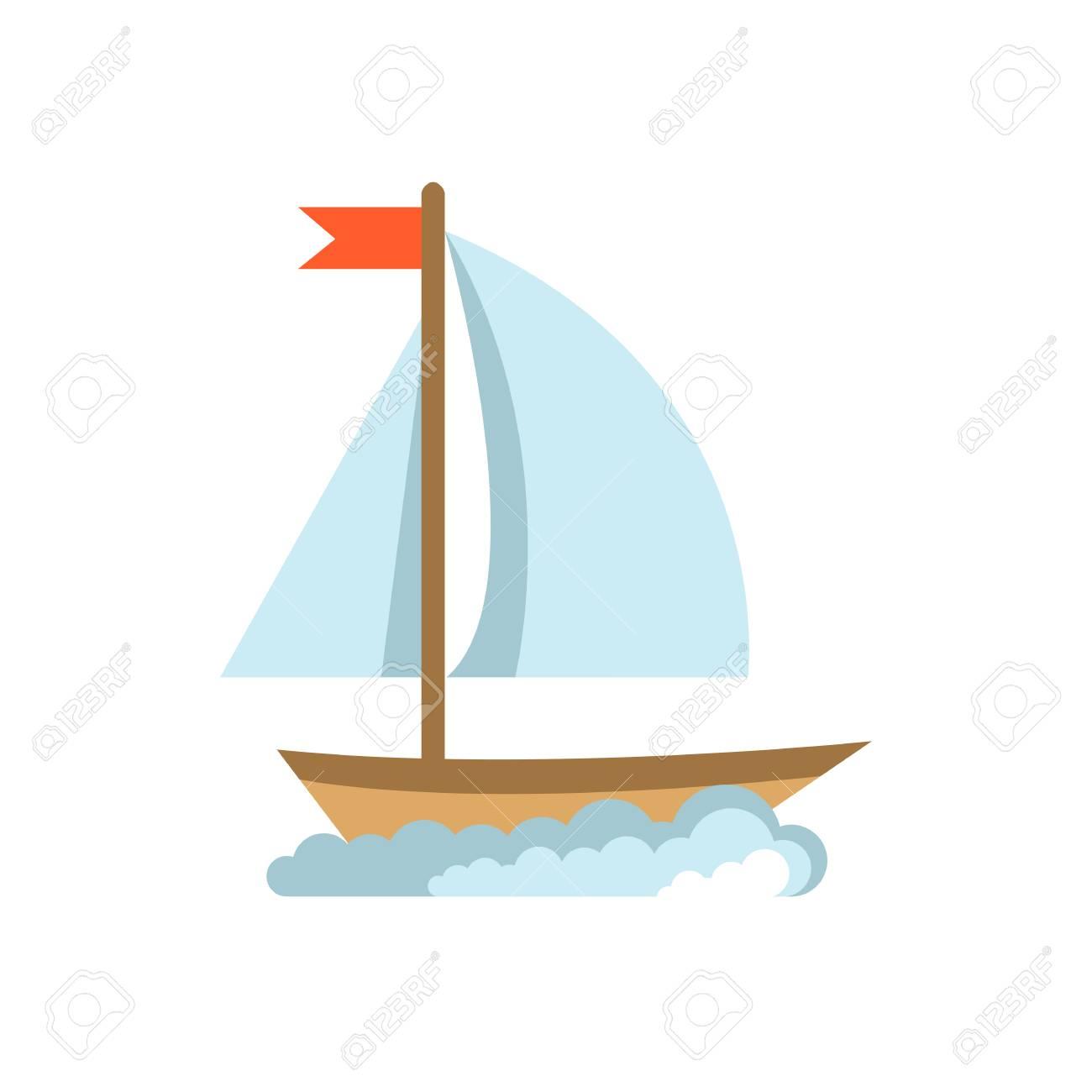 Sailing yacht flat icon. Boat isolated on white background - 77408916