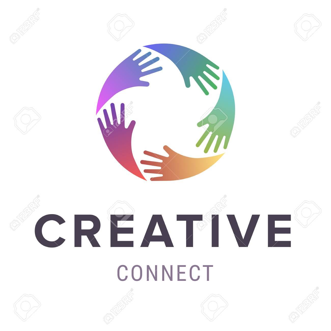 Hands logo. Abstract logo design. Vector concept or conceptual circle spiral of colorful hand symbols. - 85239565