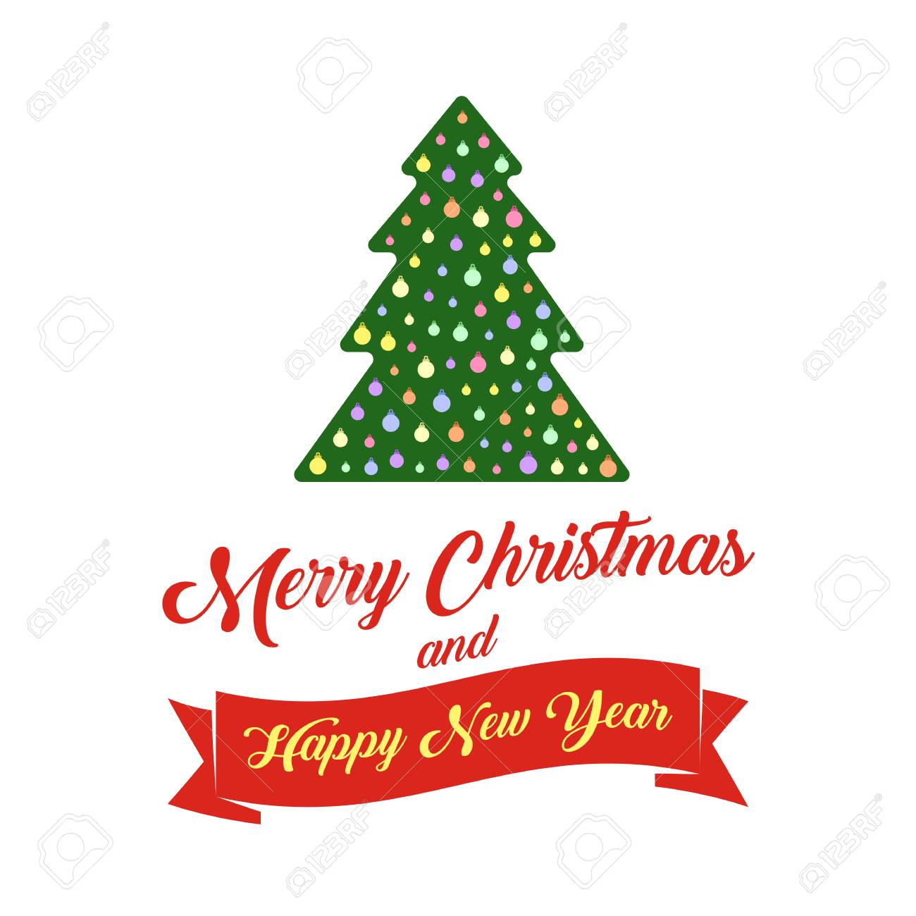 christmas tree and text merry christmas and happy new year banner royalty free cliparts vectors and stock illustration image 87430520 christmas tree and text merry christmas and happy new year banner
