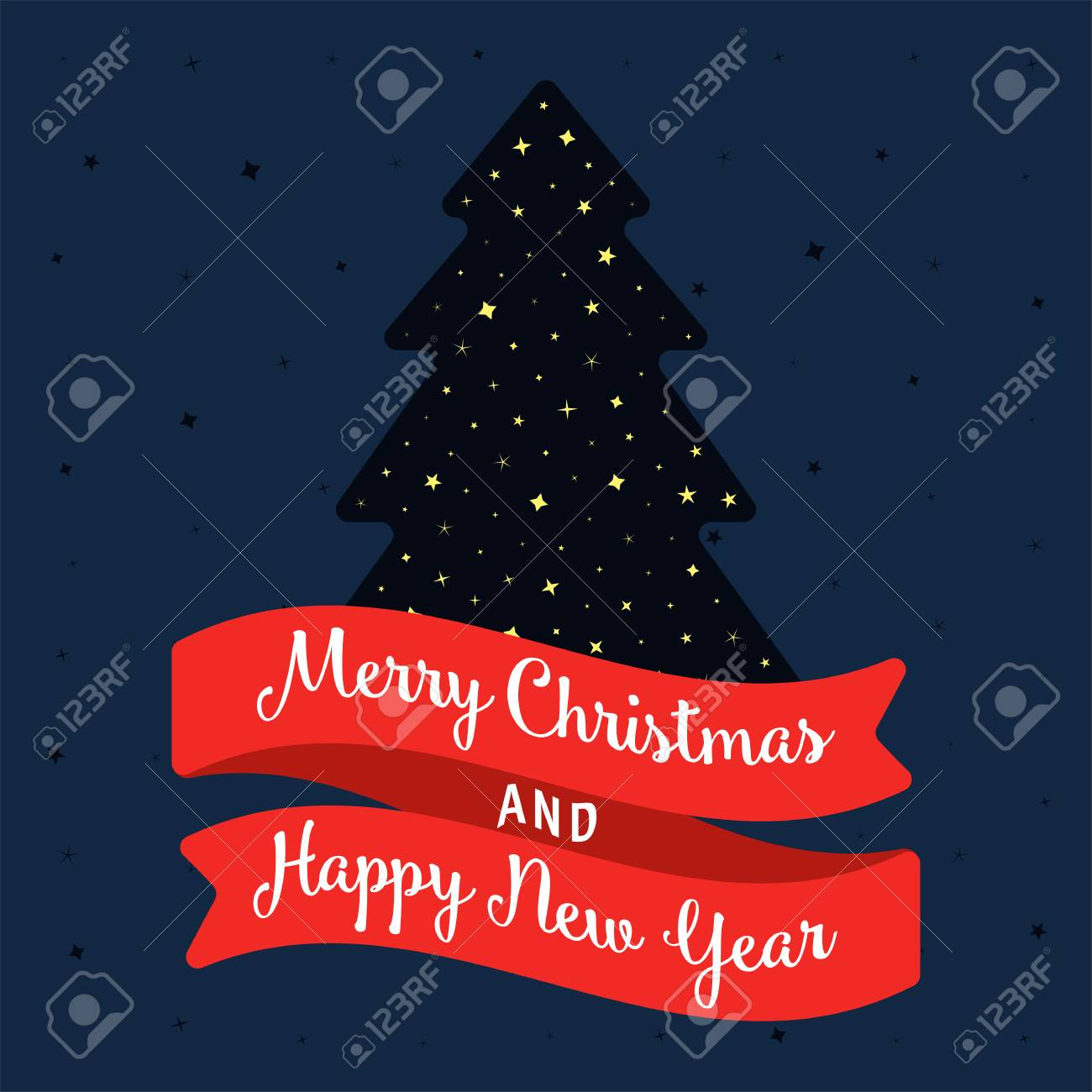 merry christmas and happy new year banner or greeting card with tree and stars vintage