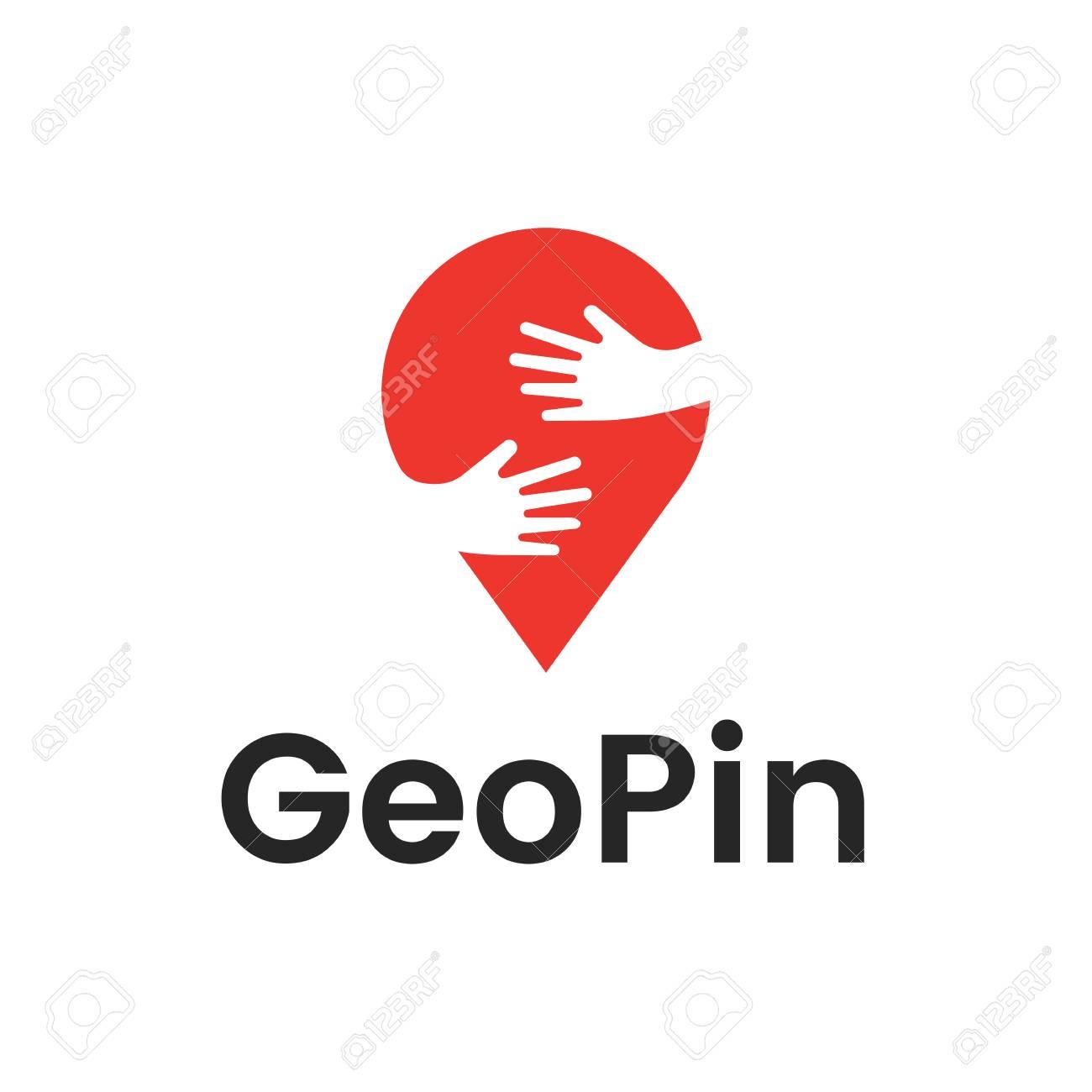 手でピンはハグのデザイン テンプレートです 地図ピン ベクトル