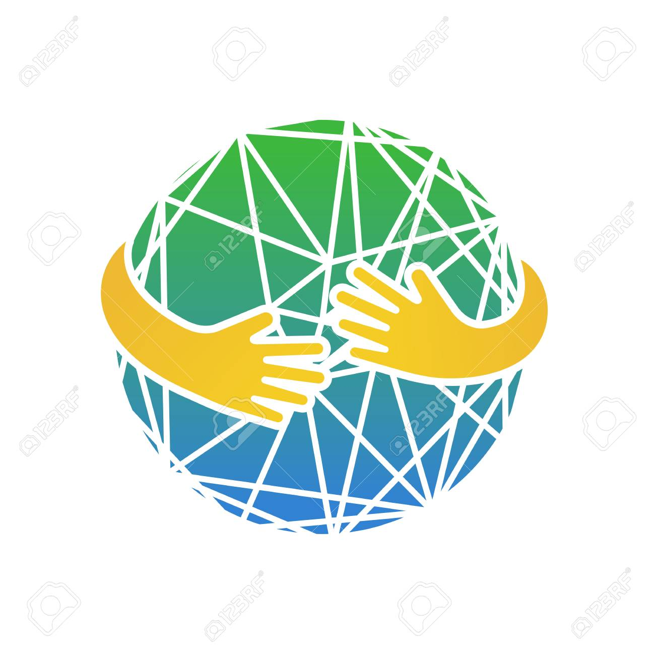 Abstract earth in hands. Circle hug vector illustration - 90111608