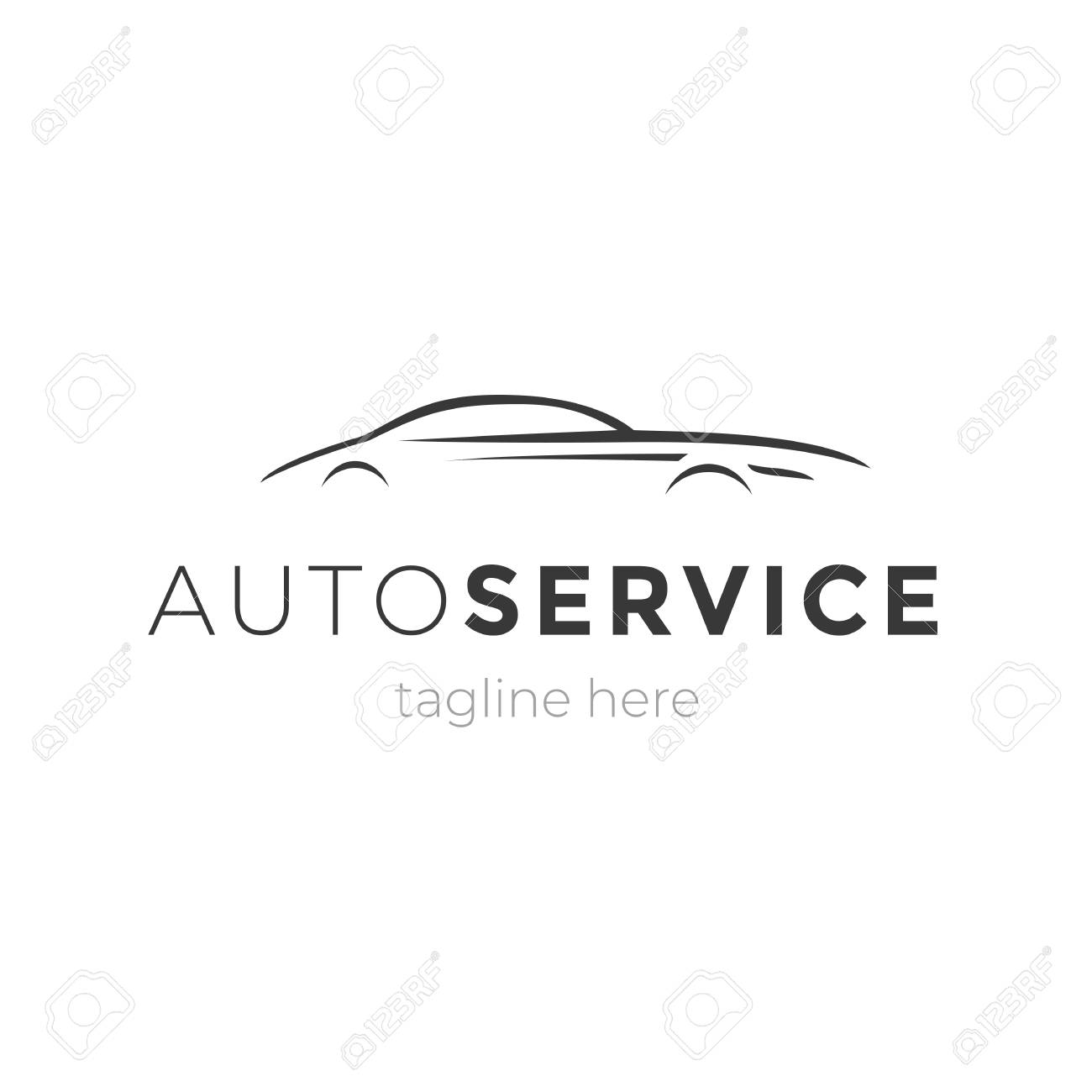 Modern Auto Service Emblem With Car Silhouette Logo Design Vector Royalty Free Cliparts Vectors And Stock Illustration Image 97562106