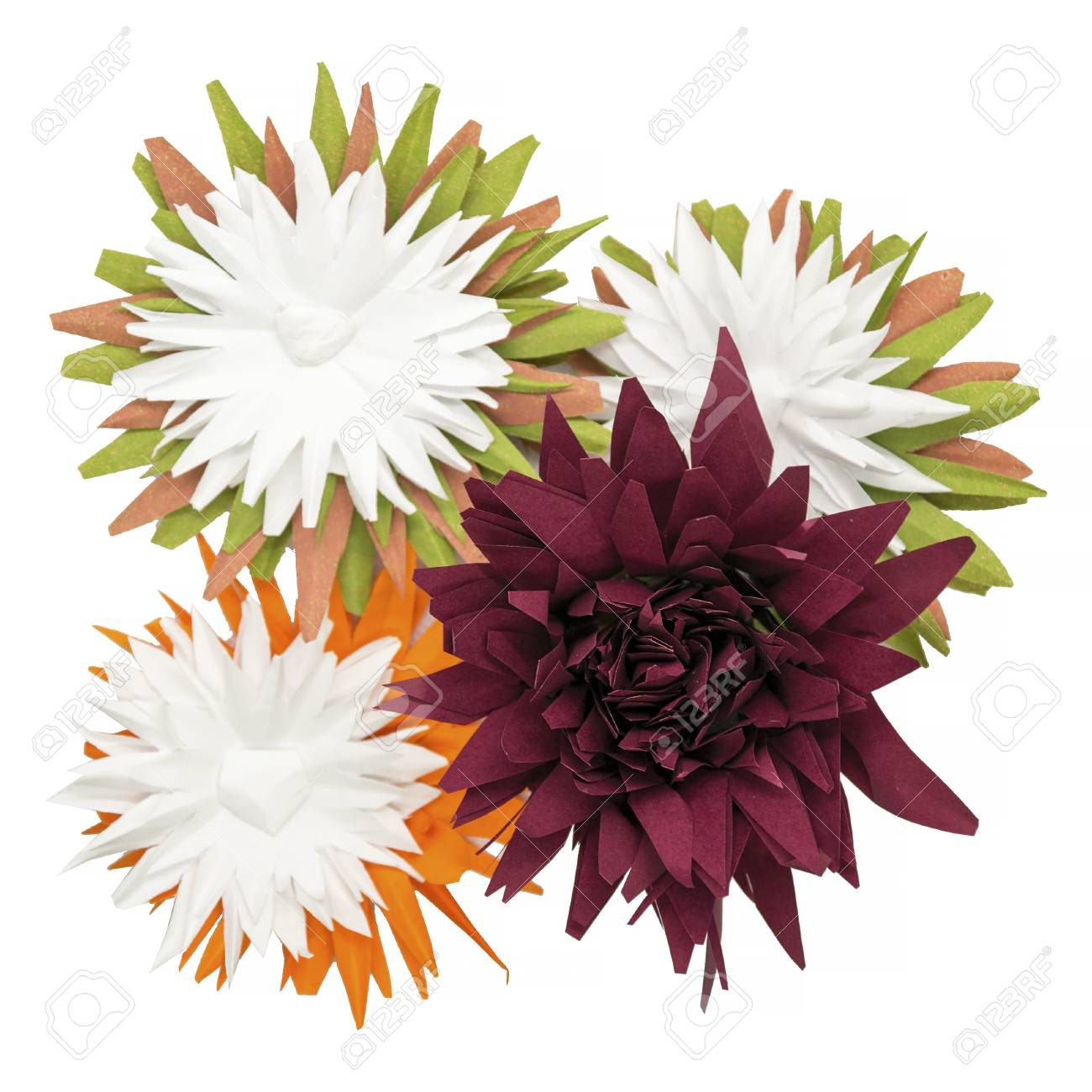 Colorful Handmade Paper Flowers On White Background Creative