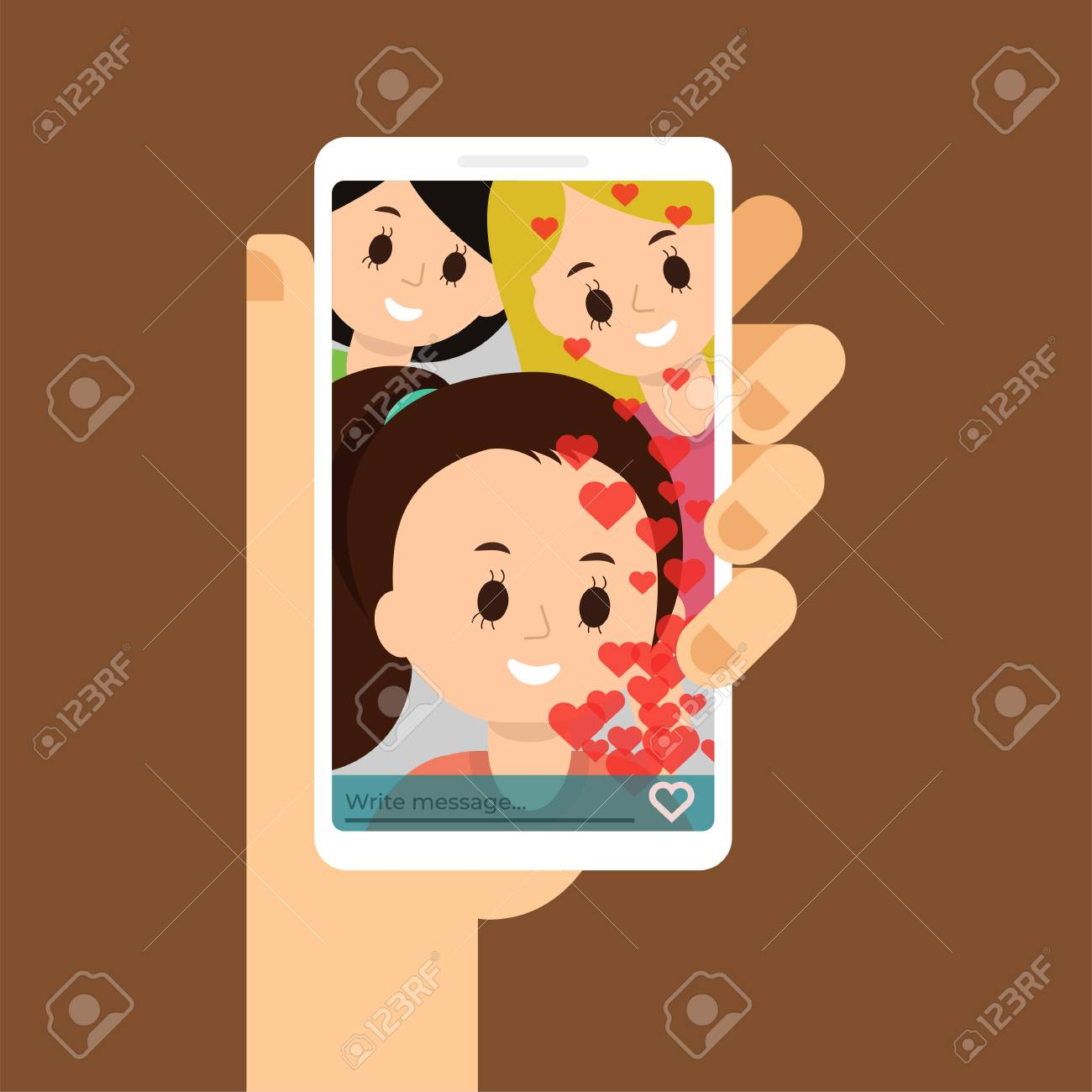 Flat illustration of video call with friends, family. Chatting with friends. Smartphone in the hand - 101728457