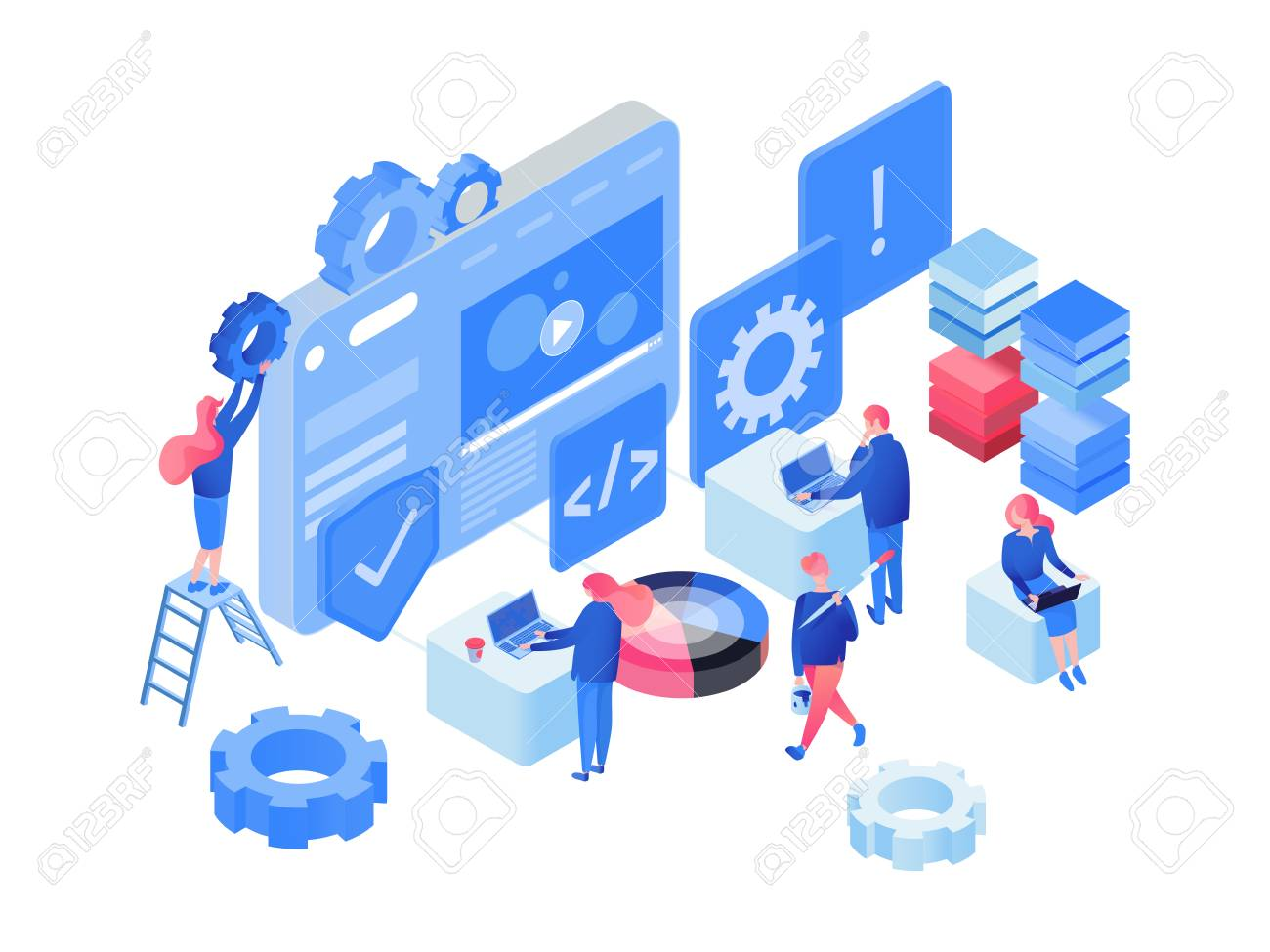 Software Web Development Isometric Vector Illustration Programmers Developers Characters Coding Team Working Collaborating 3d Clipart App Website Optimization Process Isolated Design Element Royalty Free Cliparts Vectors And Stock Illustration