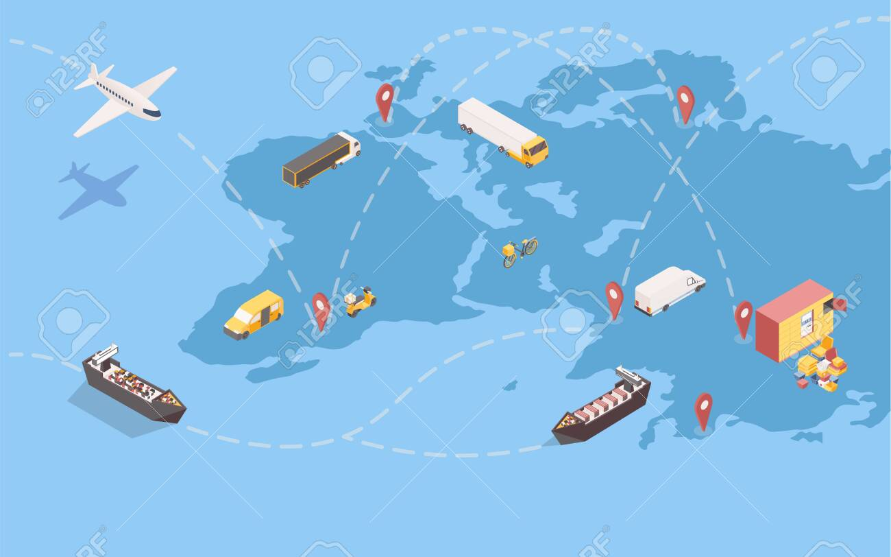 Worldwide goods shipment isometric illustration. Global delivery service with international trade routes and various transportation means. Logistic company transatlantic freight shipping - 138328088