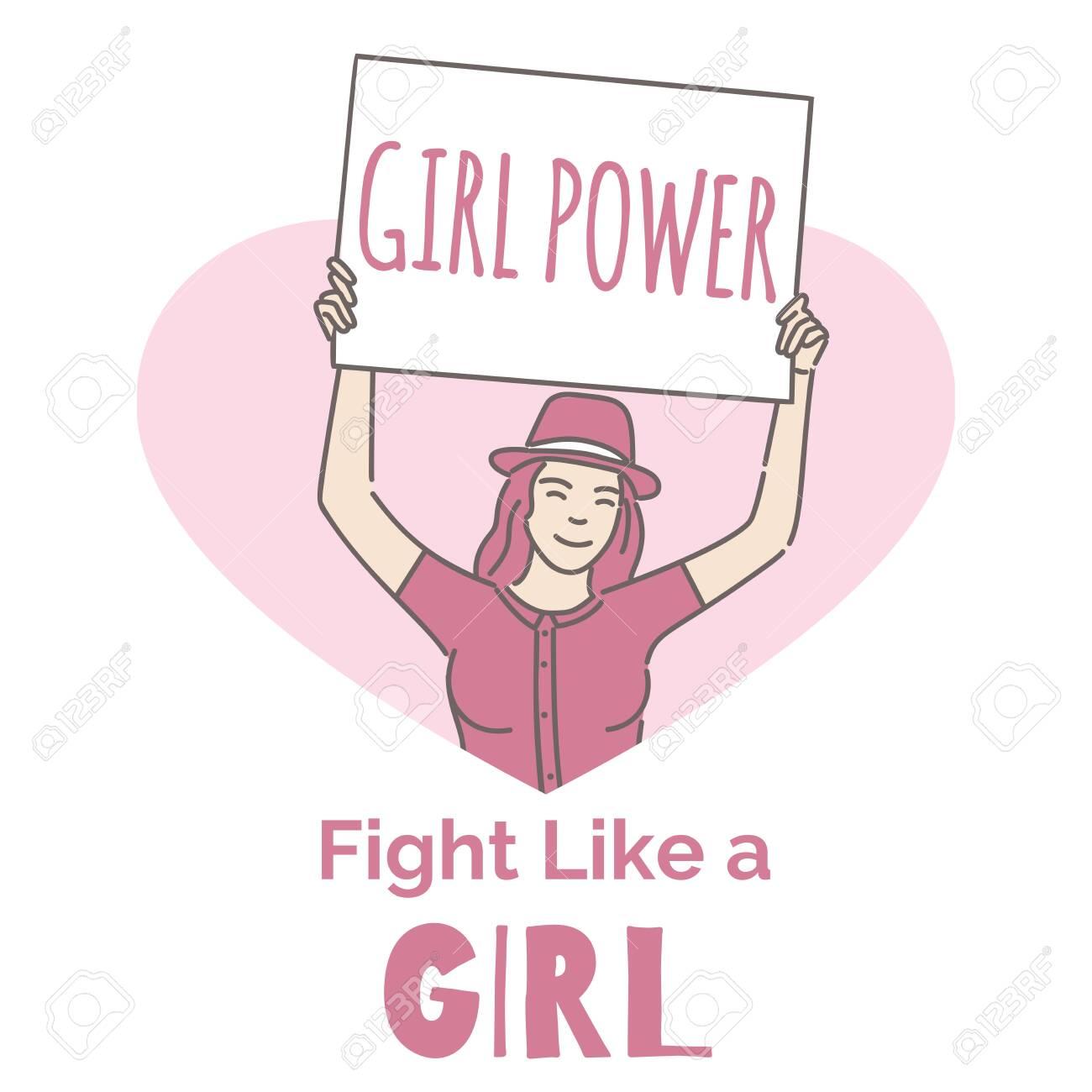 Feminism vector banner template. Activist, girl power, fight..