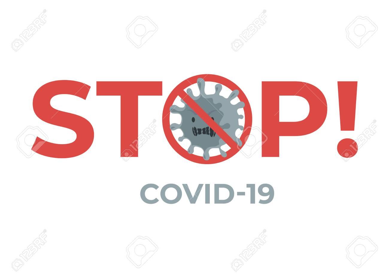 Stop virus COVID-19 flat banner concept. Novel coronavirus outbreak and global pandemic. - 144170875