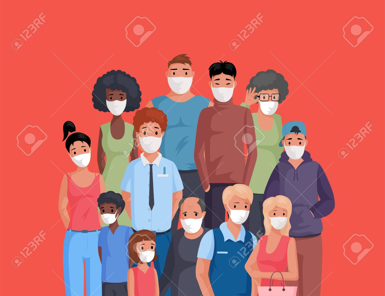 Multiracial and multicultural group of people standing together and wearing face masks flat cartoon illustration. - 148111872