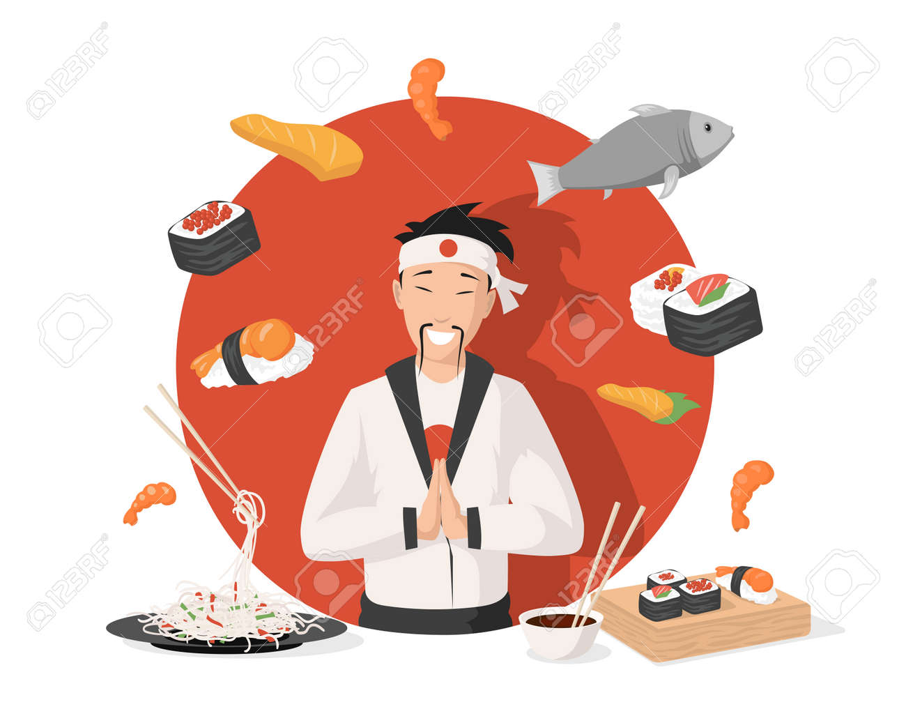 Chef in traditional Japanese kimono vector flat illustration. Japanese cuisine, sushi, rolls, shrimps, and noodles. - 171745921