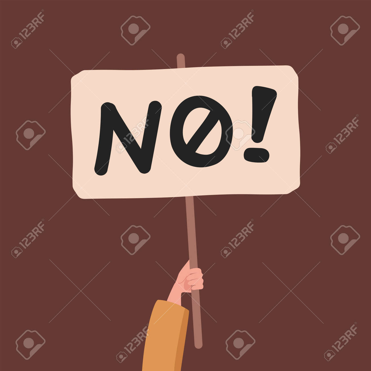 Hand holding banner with no word vector flat illustration. Protesting against something, voting negatively. - 172120491