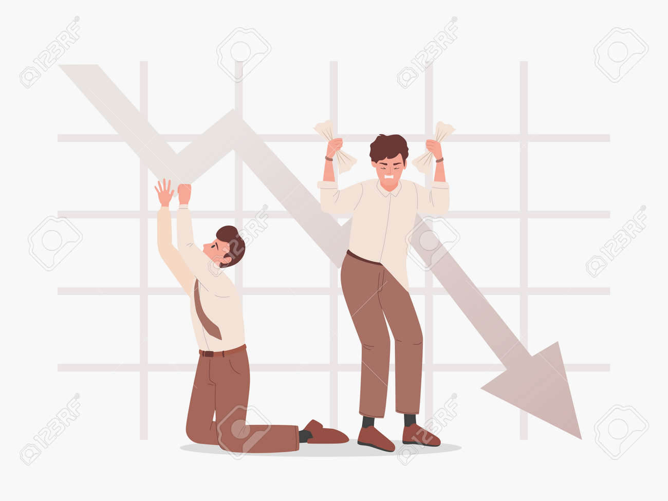 Sad men on the background of falling graph vector flat illustration. Bankruptcy, business problems. - 172534798