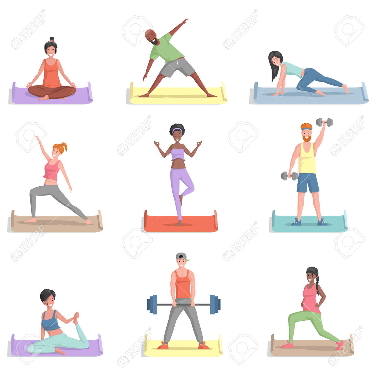 Set of people training vector flat illustration. Men and women in sports clothes doing exercises. - 172122204