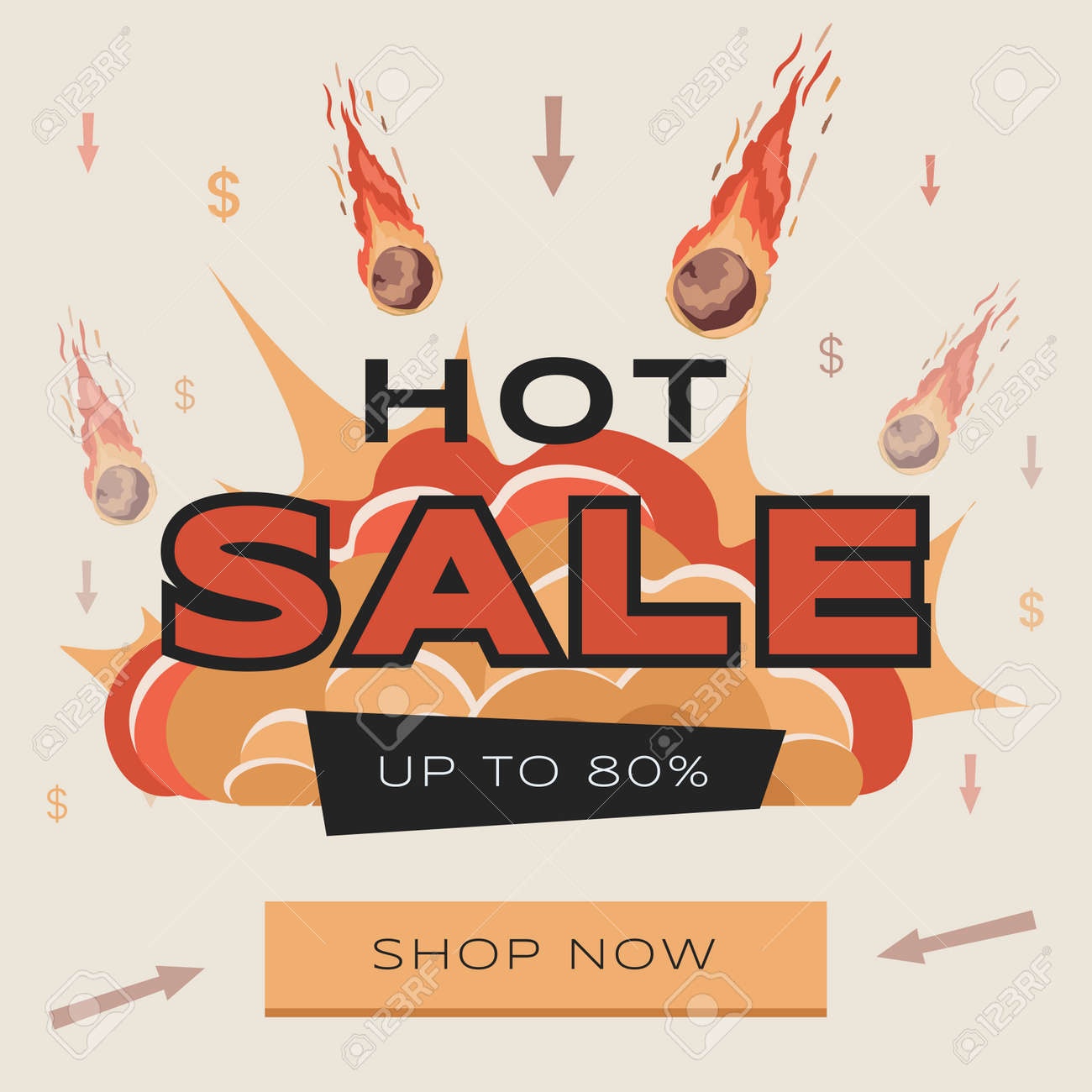 Bright and colorful Hot Sale advertisement flyer design with text. Large burning meteorites falling on prices. - 172534804
