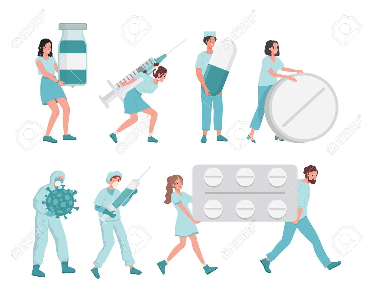 Medical workers bring tablets in blister, syringes, pills and medical flasks vector flat illustration. - 172534805