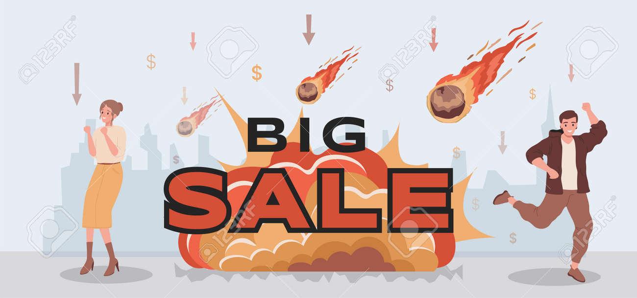 Big sale vector flat banner design. People celebrating sales. Large burning meteorites falling on prices. - 172534807