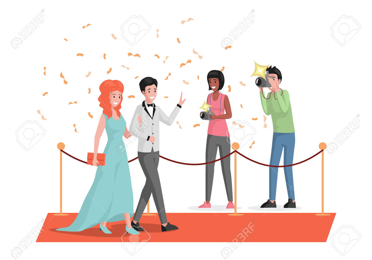 Happy smiling celebrities couple walking on red carpet and waving hands vector flat illustration. - 172534811