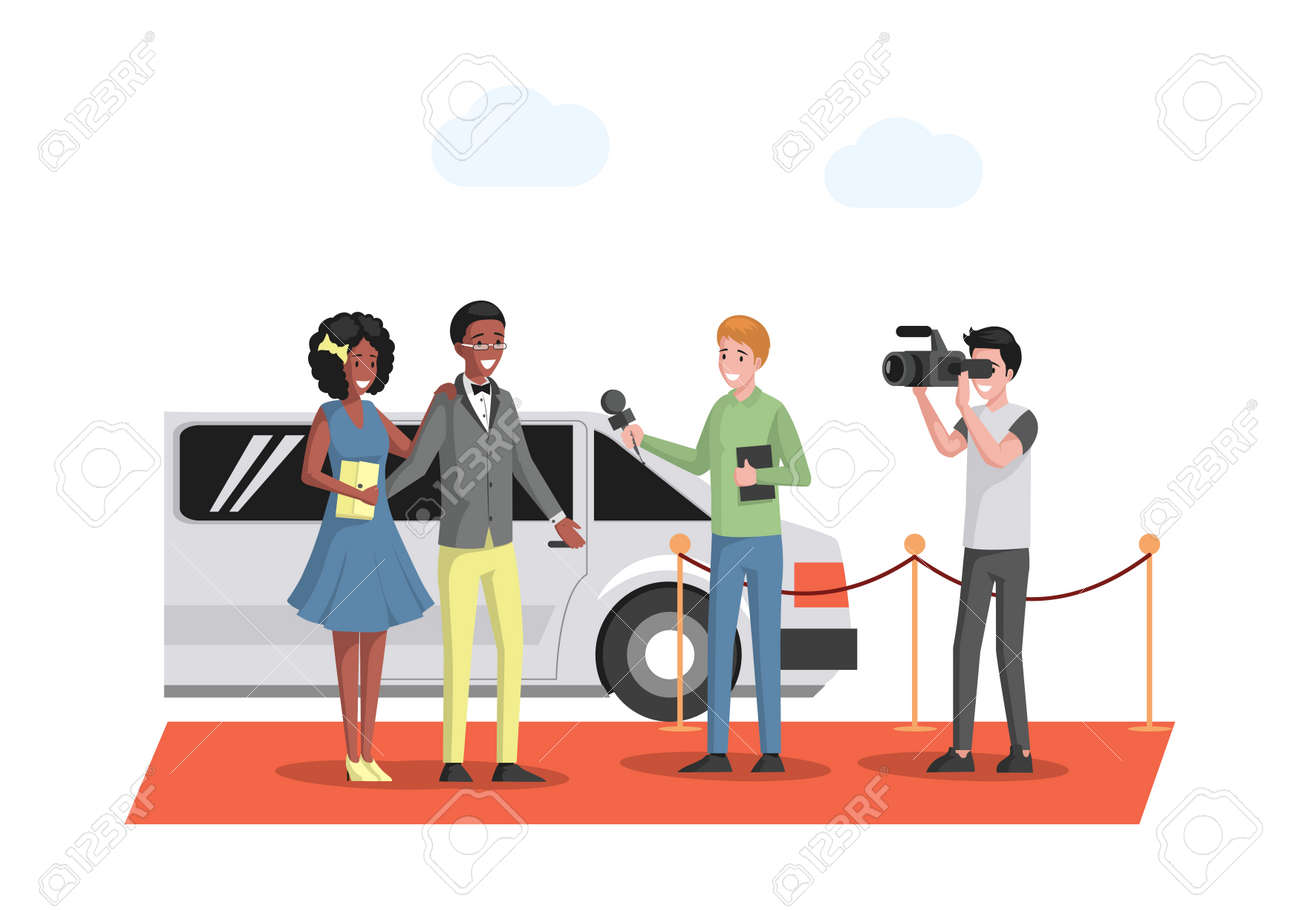 Famous couple in evening wears arriving at the red carpet on white limousine vector flat illustration. - 172534818