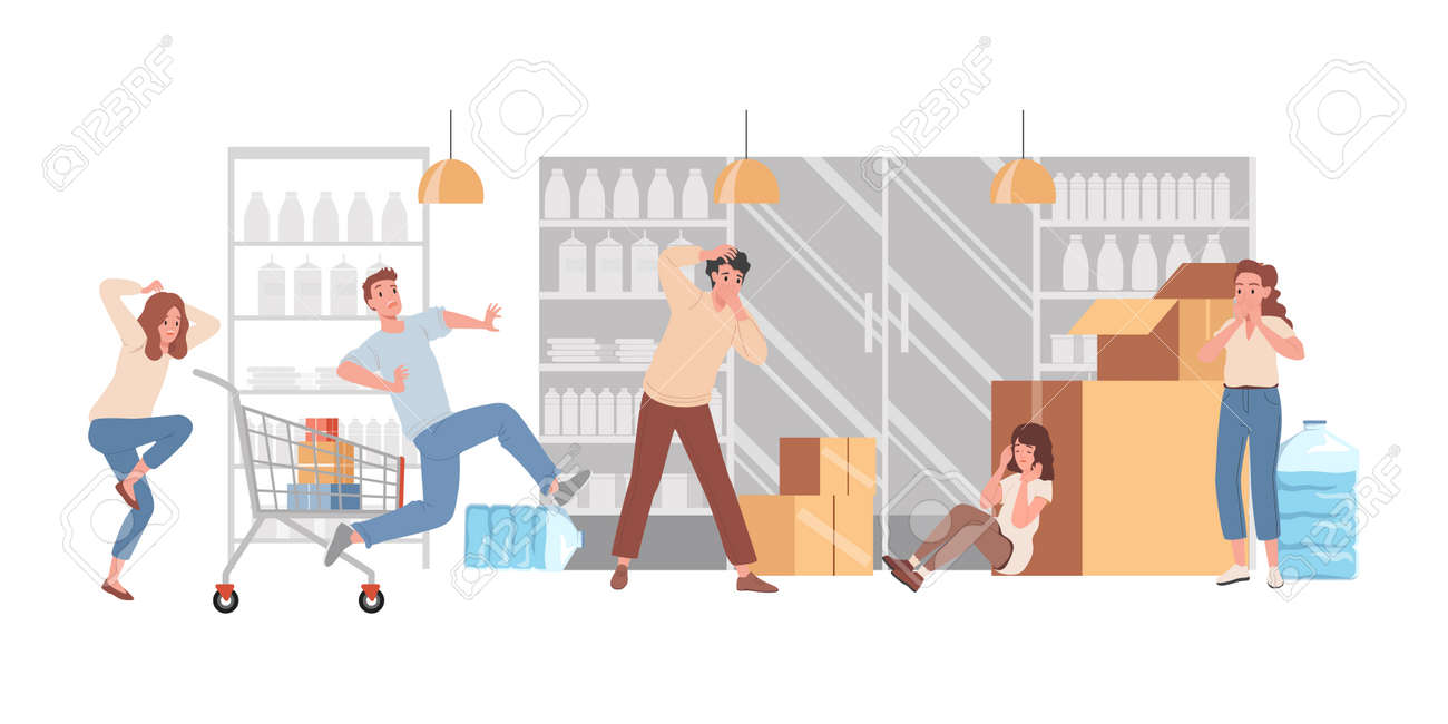 People panic in shop vector flat illustration. Frightened men and women crying, hiding, and running. - 172534841