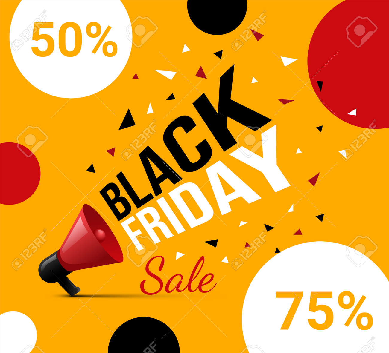 Bright and colorful Black Friday advertisement flyer design with text. Red loudspeaker promotes seasonal sale. - 172534843