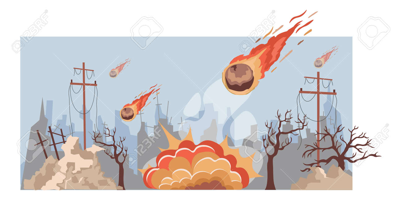 Large burning meteorites fall on the city vector flat illustration. Destroyed city buildings during natural disaster. - 172534844
