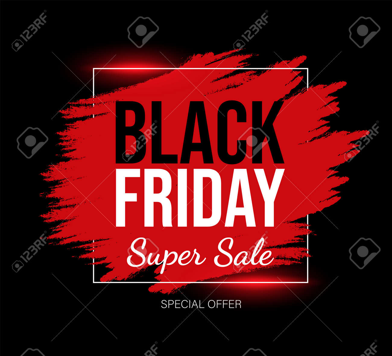 Black Friday marketing card template with text space. Red and black super sale promotional banner design. - 172534850