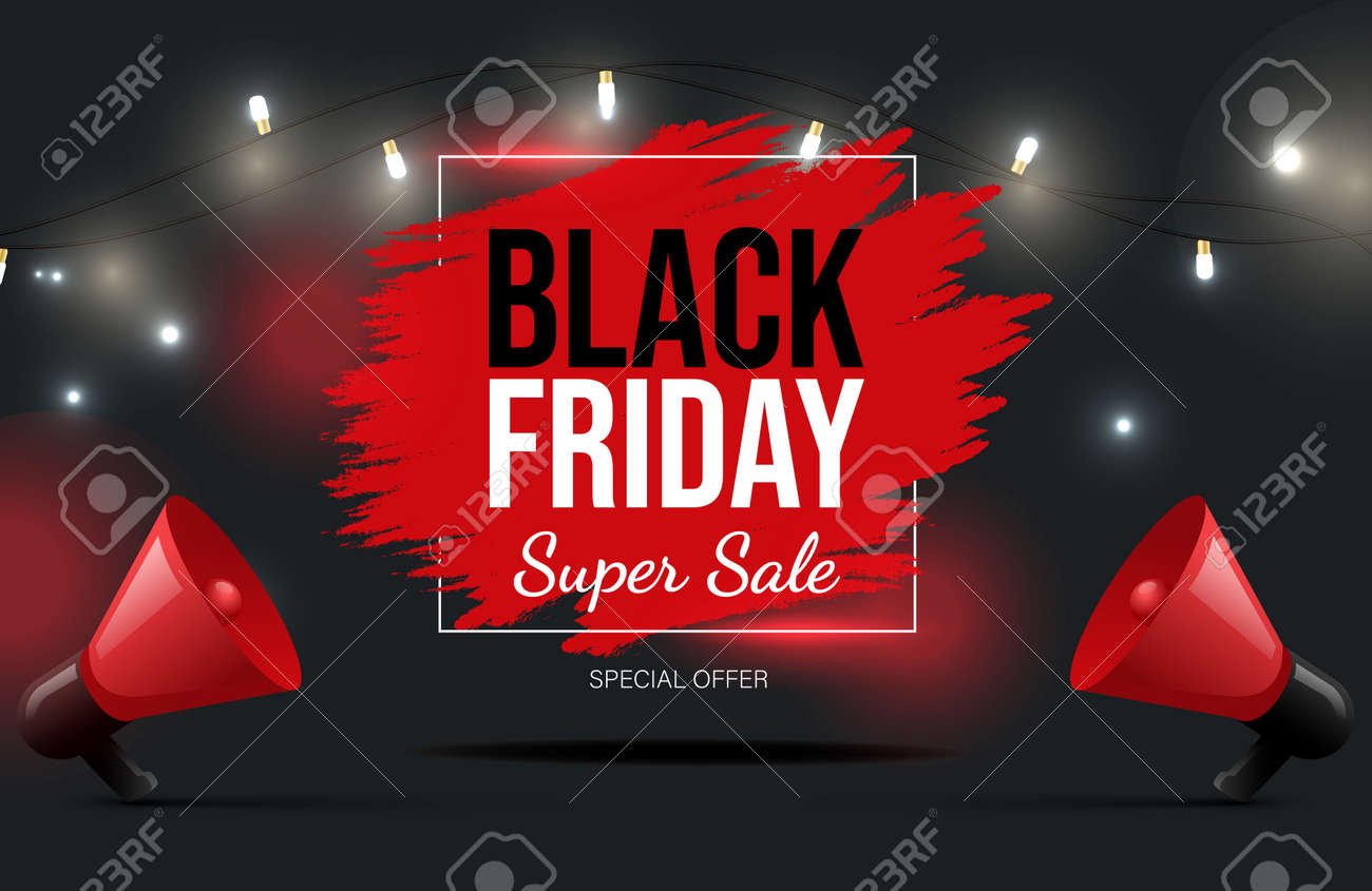 Black Friday vector banner design with text. Super seasonal sale poster neon concept, special offer. - 172534851