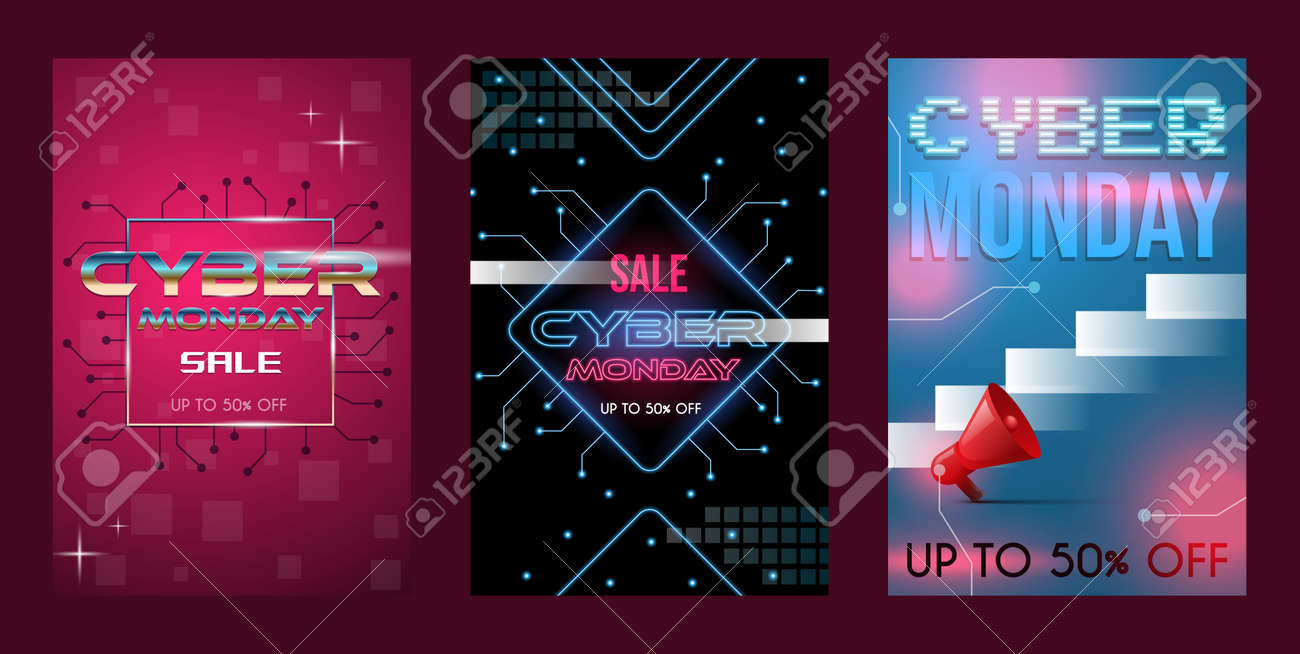 Set of three cyber Monday sale poster concept with text space. Discount banners, seasonal offer vector neon style. - 172123022
