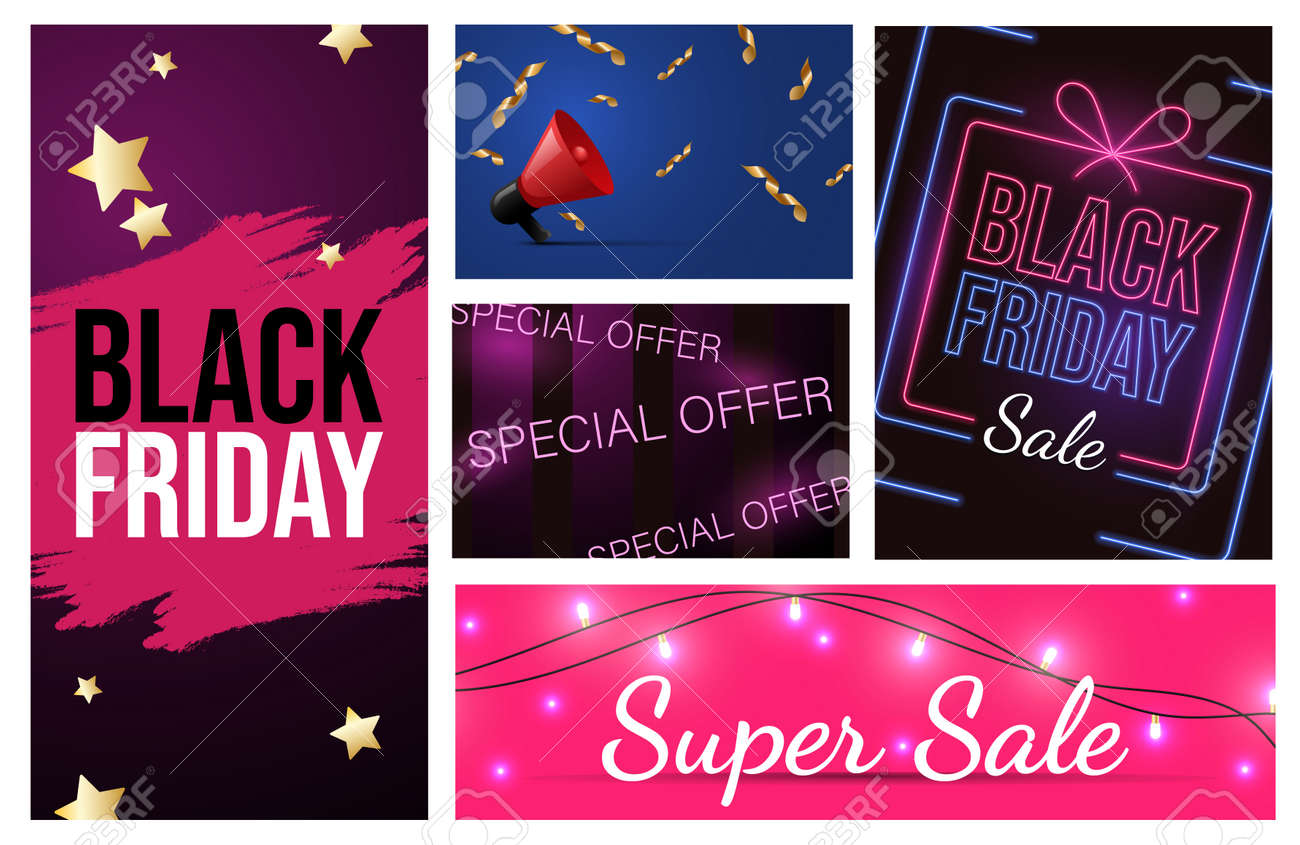 Set of different Black Friday advertising materials design. Special offer, seasonal sale vector neon banner concept. - 172534867