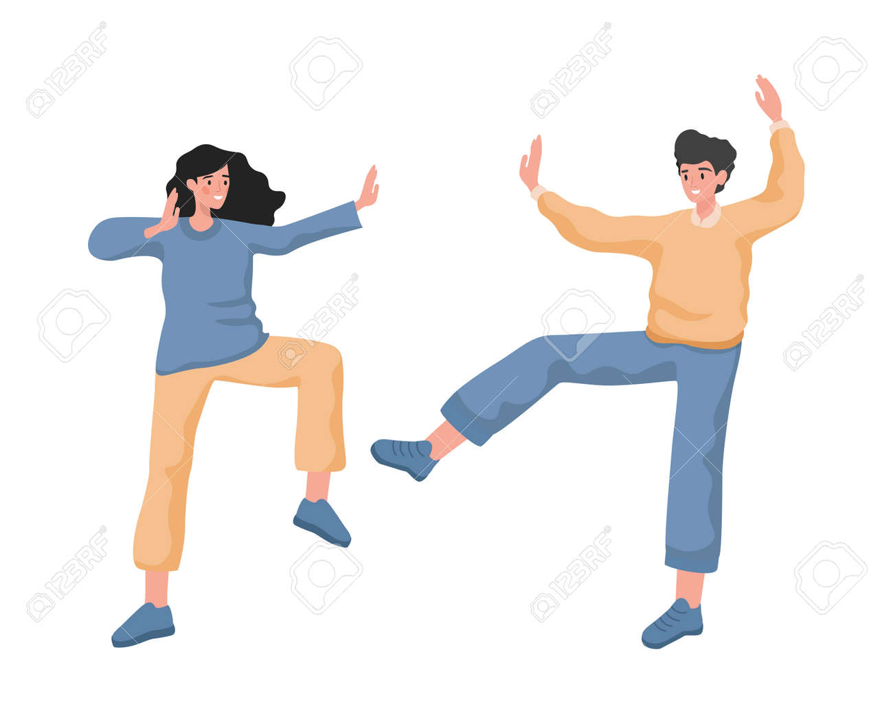 Happy smiling man and woman dancing, feeling positive emotions vector flat illustration. - 173846404