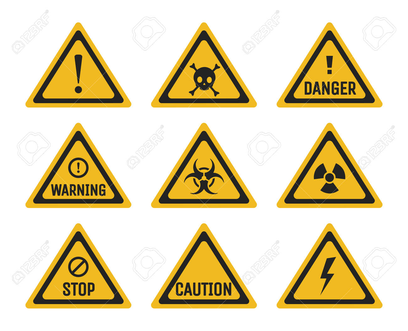 Set of prohibition and warning signs vector flat illustration. Danger, stop, and caution pictograms. - 173869137