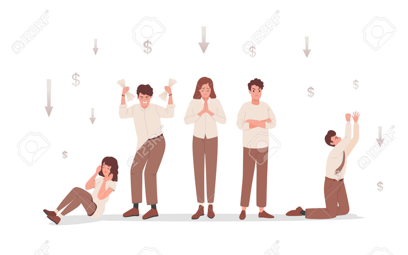 Group of sad and disappointed people upset about financial and business failure vector flat illustration. - 173869140