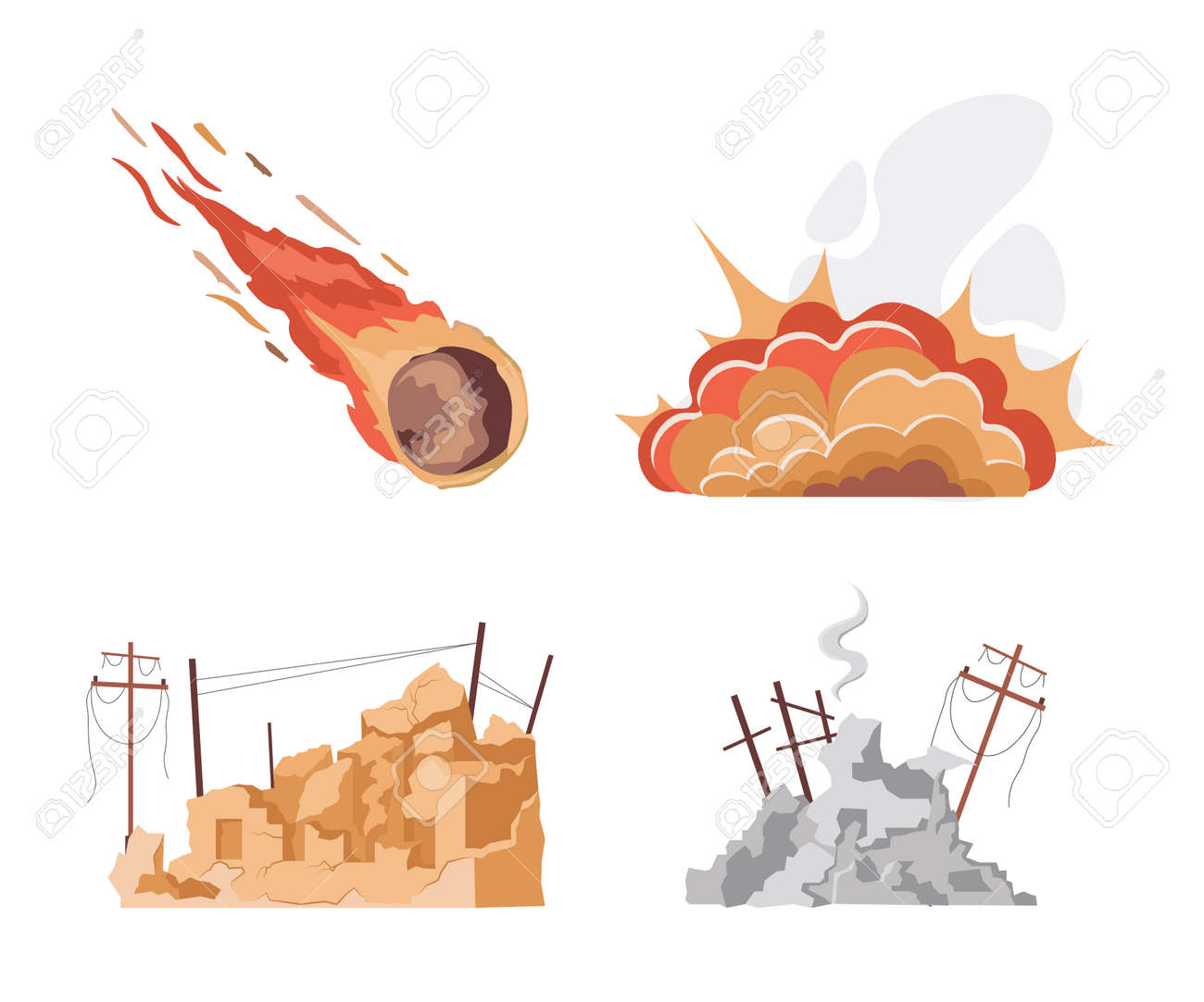 Set of natural disaster vector flat illustrations isolated on white background. World in collapse concept. - 173869148