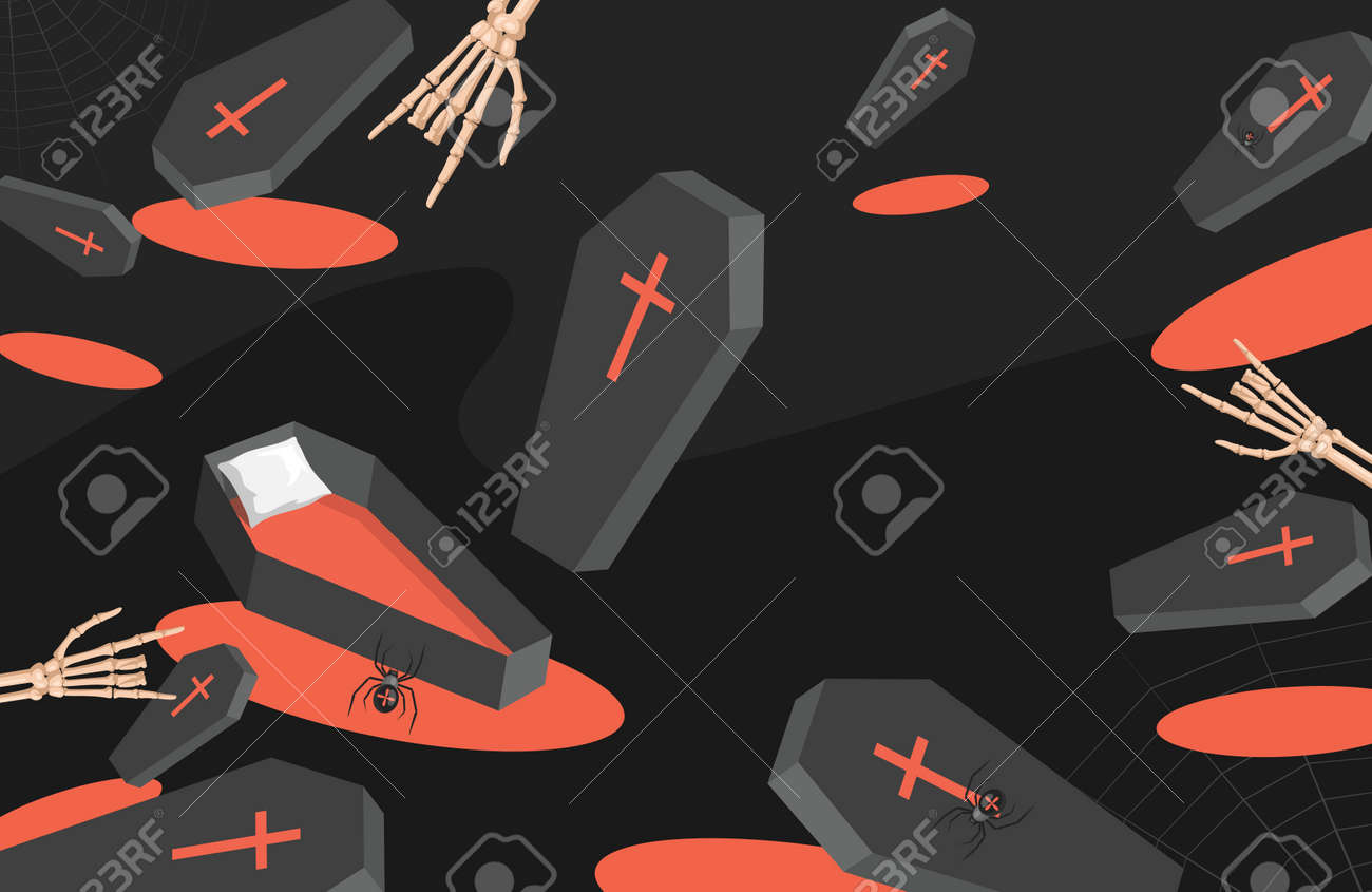 Trick or treat Halloween party backdrop. Coffins, spiders, and skeletons hands vector flat cartoon illustration. - 173869153